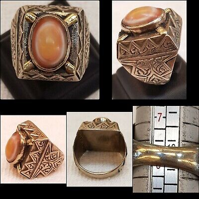 Ancient Protection Goat Eyes Agate Stone With Wonderful Old Antique Silver Ring