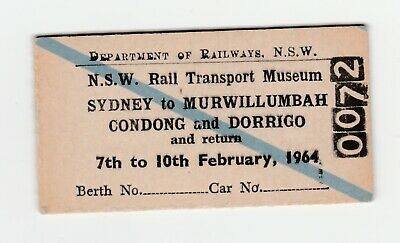 NSW Rail Transport Museum- Syd to Murwillumbah, Condong & Dorrigo Rail Ticket