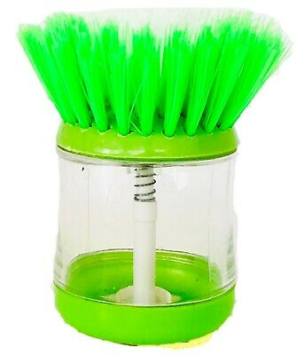 GREEN Soap Dispensing Washing Up Scrubber Brush Dishes Cleaning Scouring Pad