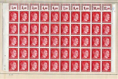 Germany Stamps-Nazi 1941-1943-12pf complete sheet-MNH/MH   Hitler -see desc