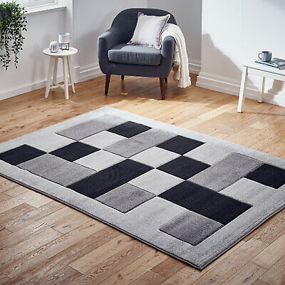 Modern Small Extra Large Carved Geometric Box Grey Silver Sale Budget Offer Rug
