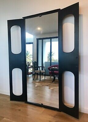 Large Ornate Mirror Opening Doors Black Metal Frame Home Decor