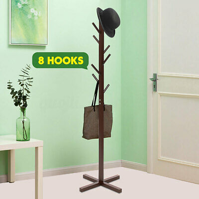 Clothes Hat Coat Rack Hanger Bag Storage Hook Rack Door Wooden Standing Holder