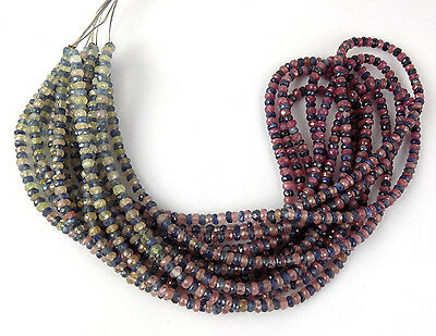 """1 Strand Natural Multi Sapphire Gemstone Faceted Rondelle Beads 3-3.5mm15.5""""Long"""