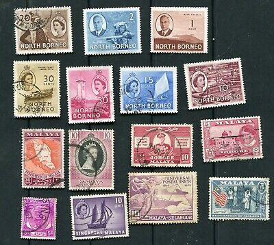 Lot of   stamps     of    North Borneo and Malaya