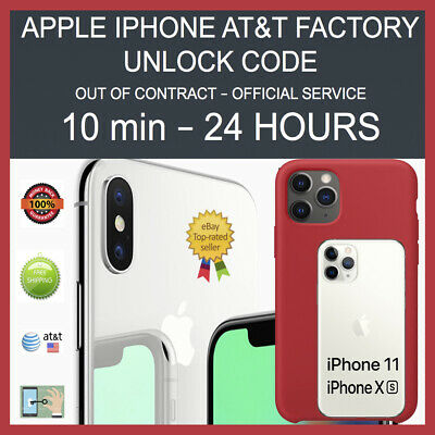 FACTORY PERMANENT UNLOCK SERVICE AT&T iPHONE 11 11 PRO MAX XS XS Max XR X 8 7 6