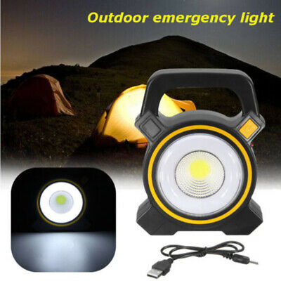 USB Solar COB LED Portable Light Rechargeable Outdoor Yard Camping Hiking Lamp