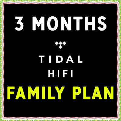 TIDAL HiFi FAMILY PLAN - 3 Months - 6 Users - Lossless Quality - GLOBAL