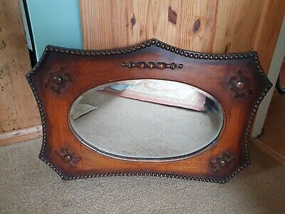 Antique Arts And Crafts Bevelled Mirror shield design