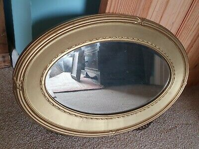 Oval Antique Gilt  Bevelled Mirror minor silvering