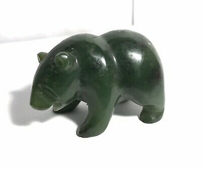 "Great Natural Nephrite Jade  A  Dark Green Hand Carved Bear Sculpture 2"" L"
