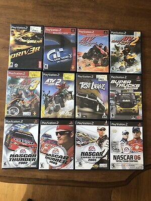 PlayStation 2 PS2 Video Game Lot Of 12 Driv3r ATV Gran Truismo NASCAR Test Drive