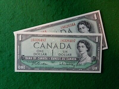 * Two Canadian 1954 series one dollar bill, bills, bank notes, nice clean decent