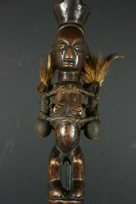 African Chief Scepter with fetish figures, YAKA, D.R. Congo TRIBAL ART PRIMITIVE