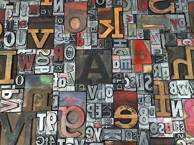Lot Of 100 Vtg Wood Metal Letterpress Print Type Blocks Alphabet Letters Numbers