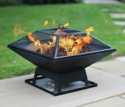 Black Fire Pit Square Steel Patio Garden Heater Outdoor Table Top BBQ Camping