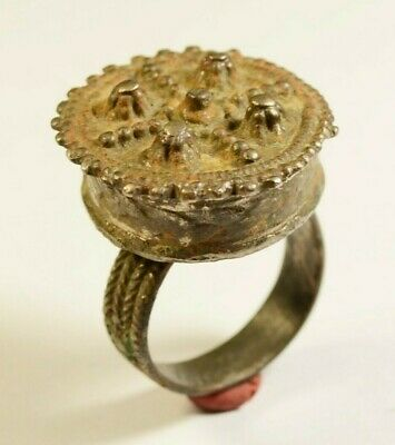 Byzantine To Post Medieval Bronze Ring With Crown Shaped Bezel
