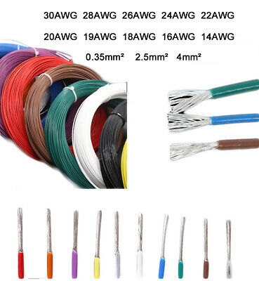 PTFE 30 28 26 24 22-14AWG Silver Plated Copper Wire Audio Stranded Cable 1M