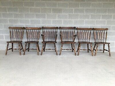 Temple Stuart Colonial Style Arrow Back Solid Maple Dining Chairs - Set Of 6