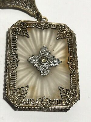 Antique Victorian Art Nouveau Silver Filligree Necklace With Cut Glass Pendant
