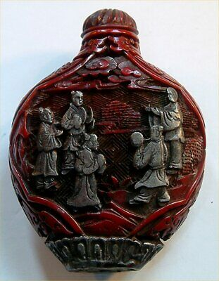 Old Oriental  Snuff / Scent  Bottle Carved Deep  Red .  Perfect ,No Chips +Top