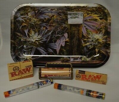 NEW Dab All Stars Rolling Tray Bundle Kit Raw Roller Paper Tips & 2 Doob Tubes