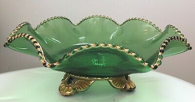 """Large Green Glass 3 Footed Bowl Candy dish Vintage Ruffle Depression 11"""" wide"""