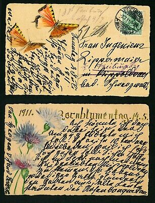 FREIBURG Germany Hand Made  VF  used  POSTCARD,  1911 Flowers and butterflies
