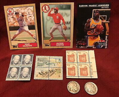 Junk Drawer Lot: 1917 D & S Buffalo Nickels, Sports Cards, US Postage Stamps