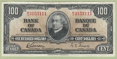 1937 Bank of Canada $100 Dollar Note - Gordon/Towers - B/J3153111 - VF