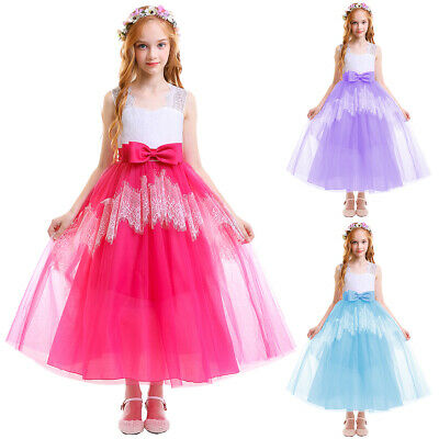 Flower Girl Princess Tutu Dress Wedding Pageant Bridesmaid Party Prom Ball Gown