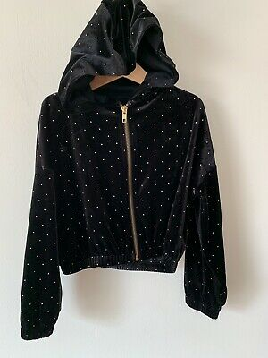 Girls Next Age 6 Black Velour Tracksuit Top Hoddie Hooded Jacket Age 6