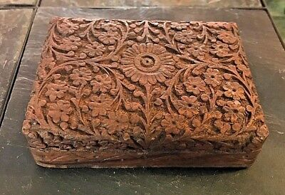 Antique Hand Carved Wooden Box with Ornate Design