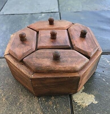 Antique 5 Compartiment Walnut Spice Box  Wonderful octagon shaped spice box