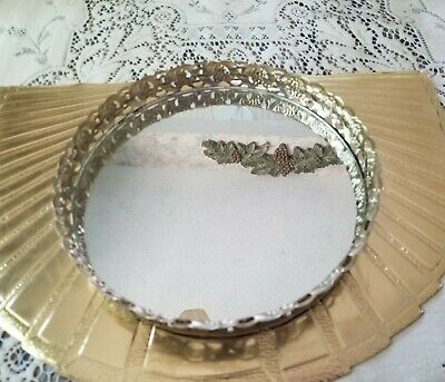 "Vintage Ormolu Round Filigree Vanity Mirror Tray 9 3/4"" Hollywood Regency"