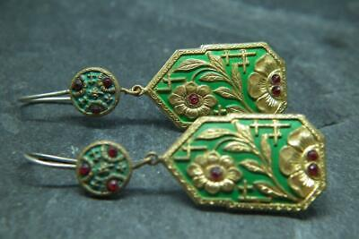Stunning Antique Art Deco Japonaise Gilt Metal, Paste & Silver Earrings
