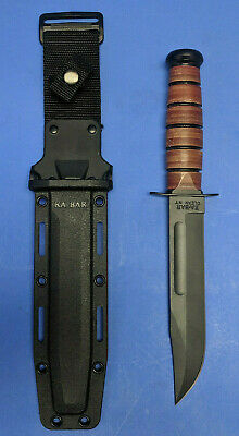 Ka-bar  USMC 1217 Leather Handle Full Size Straight Edge  Fixed Knife & Sheath