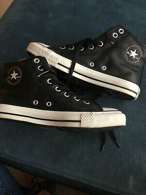 Black Leather High-Top Converse All Stars Chuck Taylor Unisex UK 6