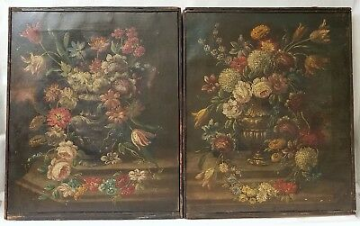 Pair of Finest Quality Antique Oil Paintings Floral Still Life Signed Illegible