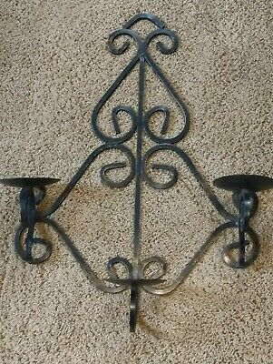 Vintage Gothic Medieval Wrought Iron Triple  Arm Candelabra Wall Sconce Fixture