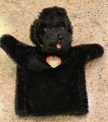 "Antique 9 1/2"" Steiff Germany Black Mohair SNOBBY POODLE Dog Puppet w/ Button"