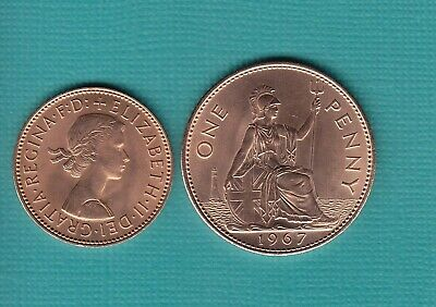 1967 1d One Penny + 1/2d Halfpenny Coin, A Pair Of Uncirculated Coins