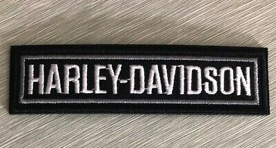 Harley Davidson Classic Bar Logo Patch Sew Iron On Motorcycle Shield Bike Silver