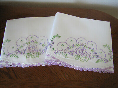 Vintage Pair Of Pillowcases Embroidered & Crocheted Roses & Asters Exquisite