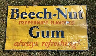 Vtg 1930s Beech-Nut Chewing Gum Embossed Tin Ad Sign General Store Display 34.5""