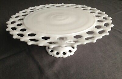 Vintage Westmoreland White Milk Glass Round Cake Stand Plate. Doric Lace Pattern