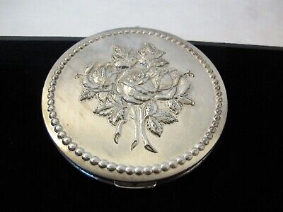 Large Sterling  Art Nouveau Rose Foundation Compact 5Th Rex Avenue.