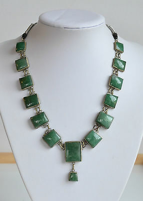 ANTIQUE CHINESE carved open back green jade or aventurine necklace square bead