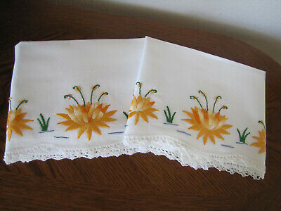 Vintage Pair Of Pillowcases Embroidered Crocheted Yellow Water Lily's Exquisite