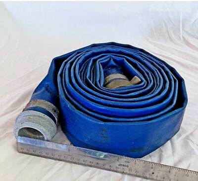 "Fire Discharge Hose Vintage Bronze Aluminum Fitting Blue Vinyl 3 1/4"" 24"""